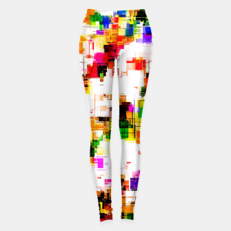 Miniaturka psychedelic geometric square pixel pattern abstract background in green red pink yellow Leggings, Live Heroes
