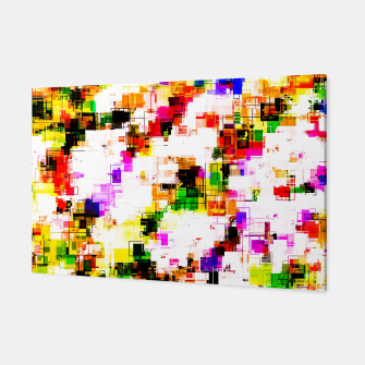 Miniaturka psychedelic geometric square pixel pattern abstract background in green red pink yellow Canvas, Live Heroes