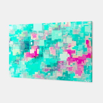 Miniaturka psychedelic geometric square pixel pattern abstract background in blue and pink Canvas, Live Heroes