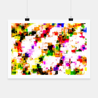 Miniaturka psychedelic geometric square pixel pattern abstract background in green red pink yellow Poster, Live Heroes