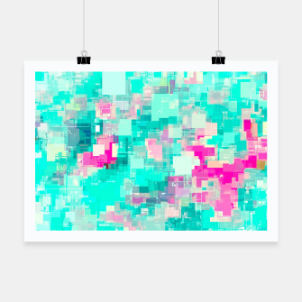 Miniaturka psychedelic geometric square pixel pattern abstract background in blue and pink Poster, Live Heroes