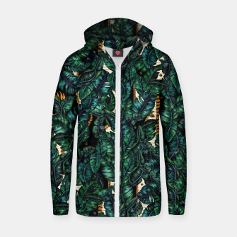 Thumbnail image of Banana Leaves by Veronique de Jong Cotton zip up hoodie, Live Heroes