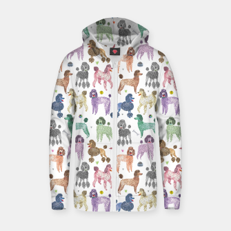 Thumbnail image of Poodles by Veronique de Jong Cotton zip up hoodie, Live Heroes