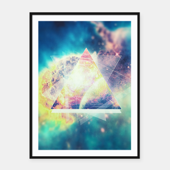 Thumbnail image of Awsome collosal deep space triangle art sign Framed poster, Live Heroes