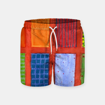 Miniatur Large rectangle Fields between red Grid  Swim Shorts, Live Heroes