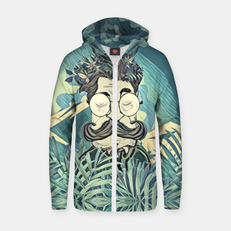 Thumbnail image of Moustache Cotton zip up hoodie, Live Heroes
