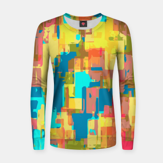 Thumbnail image of psychedelic geometric abstract pattern in blue pink green yellow brown Woman cotton sweater, Live Heroes