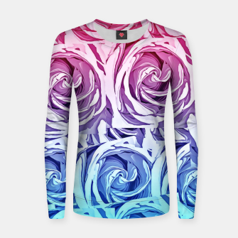 Thumbnail image of closeup pink rose and blue rose texture pattern abstract background Woman cotton sweater, Live Heroes