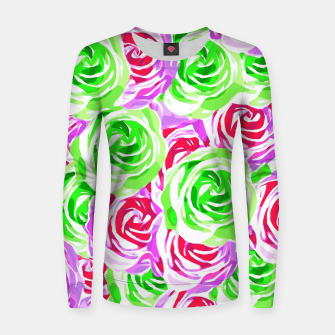 Thumbnail image of closeup rose pattern texture abstract background in pink red green Woman cotton sweater, Live Heroes