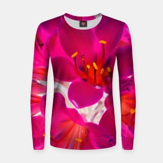 Thumbnail image of closeup pink flower texture abstract background with orange pollen Woman cotton sweater, Live Heroes