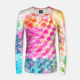 Thumbnail image of closeup cactus with colorful painting abstract in pink orange blue Woman cotton sweater, Live Heroes