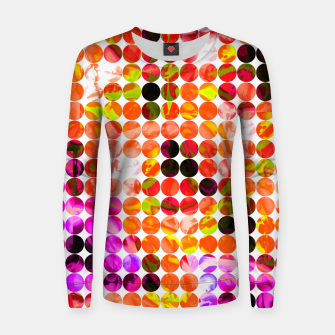 Thumbnail image of circle pattern abstract background with splash painting abstract in orange green pink Woman cotton sweater, Live Heroes