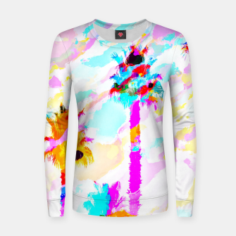 Thumbnail image of palm tree with colorful painting texture abstract background in pink blue yellow red Woman cotton sweater, Live Heroes