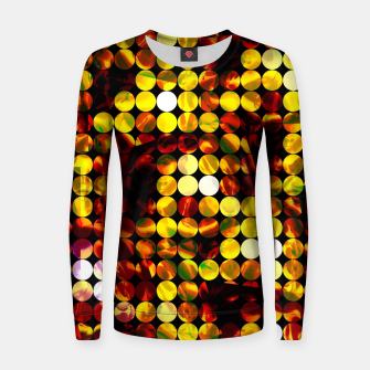 Thumbnail image of circle pattern abstract background with splash painting abstract in yellow red brown Woman cotton sweater, Live Heroes