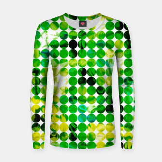 Thumbnail image of circle pattern abstract background with splash painting abstract in green and yellow Woman cotton sweater, Live Heroes