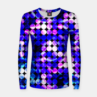 Thumbnail image of circle pattern abstract background with splash painting abstract in blue and pink Woman cotton sweater, Live Heroes