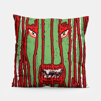 Thumbnail image of Long Hair Monster Portait Drawing Pillow, Live Heroes