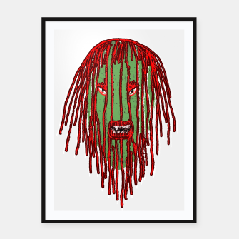 Thumbnail image of Long Hair Monster Portait Drawing Framed poster, Live Heroes