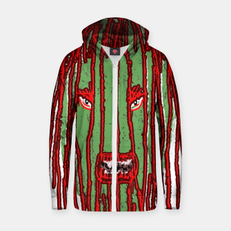 Thumbnail image of Long Hair Monster Portait Drawing Cotton zip up hoodie, Live Heroes
