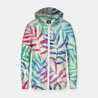 Imagen en miniatura de Watercolor Tropical Palm Leaves  Cotton zip up hoodie, Live Heroes