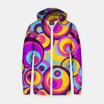 Retro Circles Groovy Colors Cotton zip up hoodie thumbnail image