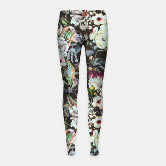 Thumbnail image of Dark flowery colorful bouquet Leggings para niña, Live Heroes