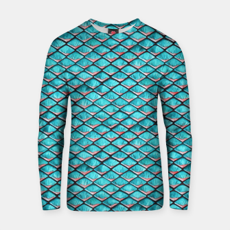 Miniatur Teal blue and coral pink arapaima mermaid scales pattern Cotton sweater, Live Heroes