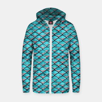 Miniatur Teal blue and coral pink arapaima mermaid scales pattern Cotton zip up hoodie, Live Heroes