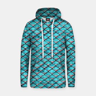 Miniatur Teal blue and coral pink arapaima mermaid scales pattern Cotton hoodie, Live Heroes