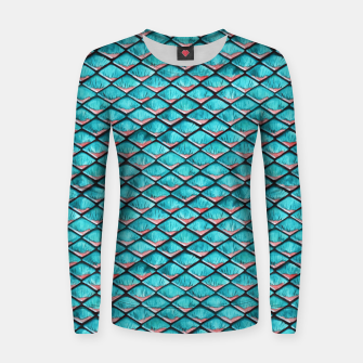 Miniatur Teal blue and coral pink arapaima mermaid scales pattern Woman cotton sweater, Live Heroes