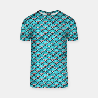 Miniatur Teal blue and coral pink arapaima mermaid scales pattern T-shirt, Live Heroes