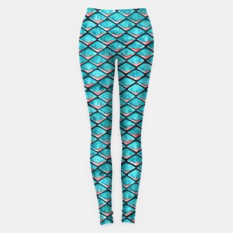 Miniatur Teal blue and coral pink arapaima mermaid scales pattern Leggings, Live Heroes