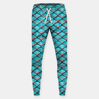 Miniatur Teal blue and coral pink arapaima mermaid scales pattern Cotton sweatpants, Live Heroes