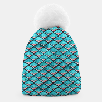 Miniatur Teal blue and coral pink arapaima mermaid scales pattern Beanie, Live Heroes