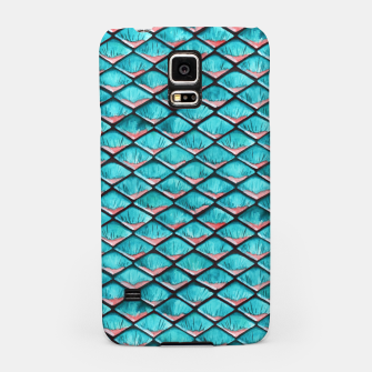 Miniatur Teal blue and coral pink arapaima mermaid scales pattern Samsung Galaxy Case, Live Heroes