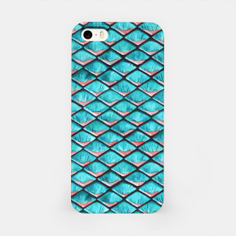 Miniatur Teal blue and coral pink arapaima mermaid scales pattern iPhone Case, Live Heroes