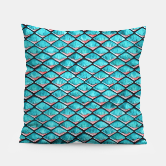 Miniatur Teal blue and coral pink arapaima mermaid scales pattern Pillow, Live Heroes