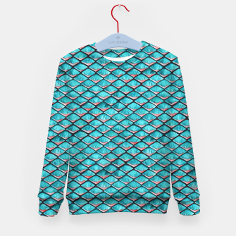 Miniatur Teal blue and coral pink arapaima mermaid scales pattern Kid's sweater, Live Heroes