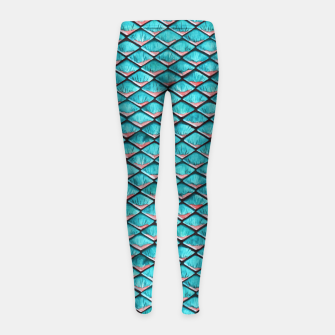 Miniatur Teal blue and coral pink arapaima mermaid scales pattern Girl's leggings, Live Heroes
