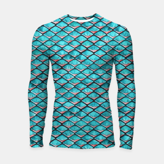 Thumbnail image of Teal blue and coral pink arapaima mermaid scales pattern Longsleeve rashguard , Live Heroes