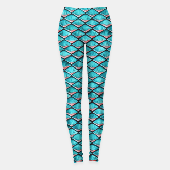Miniatur Teal blue and coral pink arapaima mermaid scales pattern Athletic Leggings, Live Heroes