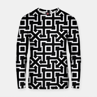 Thumbnail image of Black and White Ethnic Geometric Pattern Cotton sweater, Live Heroes