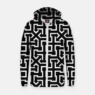 Thumbnail image of Black and White Ethnic Geometric Pattern Cotton zip up hoodie, Live Heroes