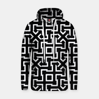 Thumbnail image of Black and White Ethnic Geometric Pattern Cotton hoodie, Live Heroes