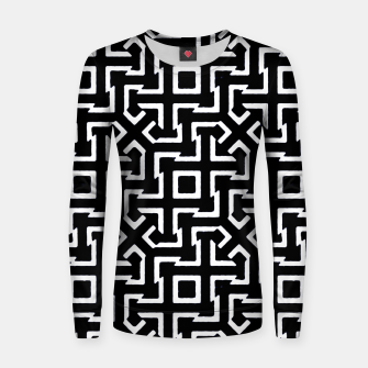 Thumbnail image of Black and White Ethnic Geometric Pattern Woman cotton sweater, Live Heroes