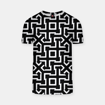 Thumbnail image of Black and White Ethnic Geometric Pattern T-shirt, Live Heroes
