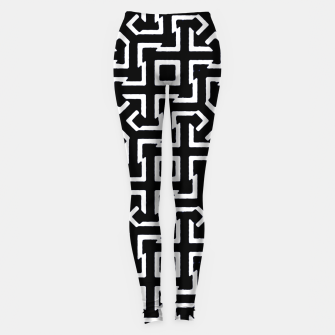 Thumbnail image of Black and White Ethnic Geometric Pattern Leggings, Live Heroes