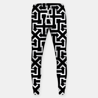 Thumbnail image of Black and White Ethnic Geometric Pattern Cotton sweatpants, Live Heroes