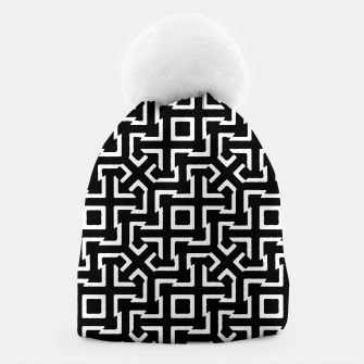 Thumbnail image of Black and White Ethnic Geometric Pattern Beanie, Live Heroes