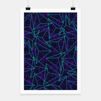 Miniatur Abstract Geometric 3D Triangle Pattern in  turquoise/ purple  Poster, Live Heroes